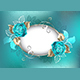 Oval Banner with Turquoise Roses - GraphicRiver Item for Sale