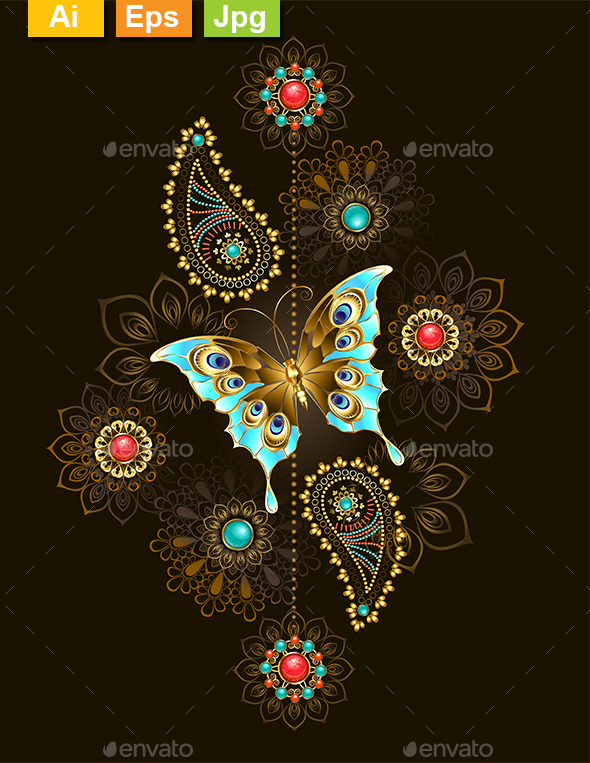 Pattern with Turquoise Butterfly - Decorative Vectors