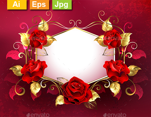 Signboard with Jewelry Red Roses - Borders Decorative