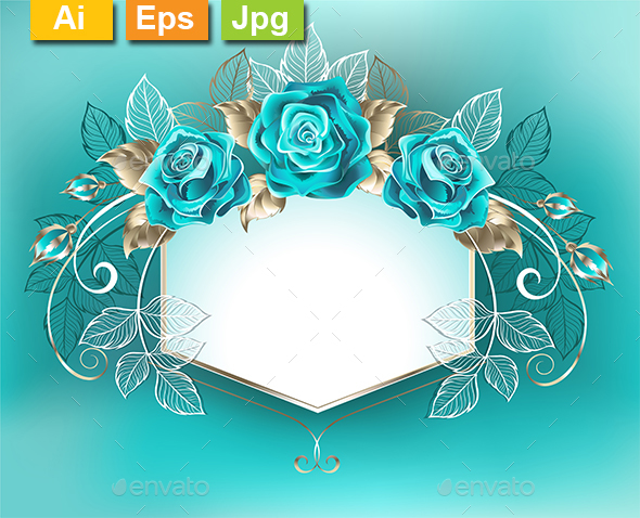 White Banner with Turquoise Roses - Borders Decorative