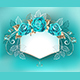 White Banner with Turquoise Roses - GraphicRiver Item for Sale