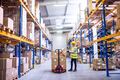 Female warehouse worker loading boxes. - PhotoDune Item for Sale