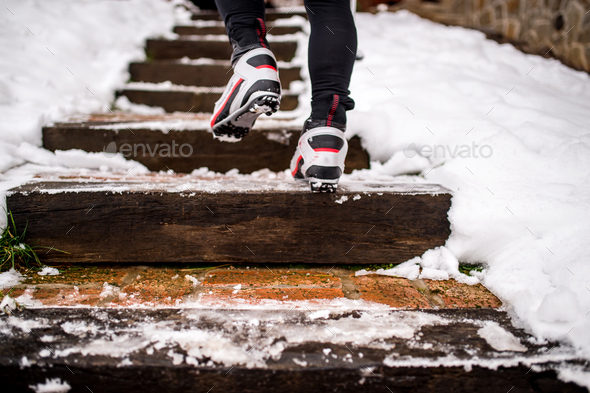 Feet of unrecognizable cross-country skier. - Stock Photo - Images