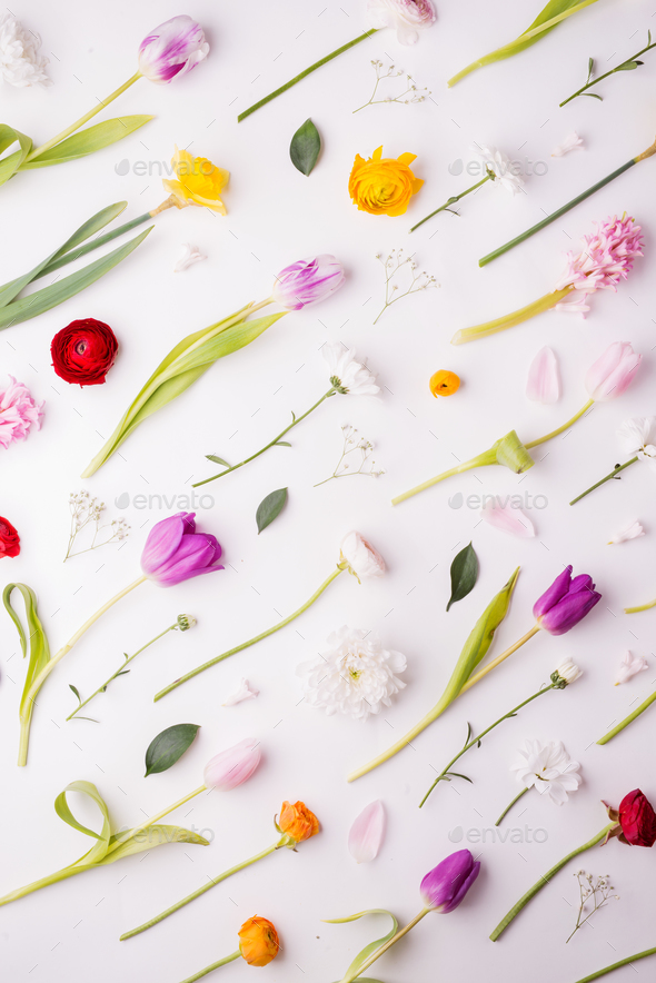 Easter and spring flat lay on a white background. - Stock Photo - Images