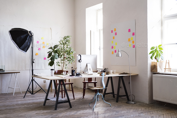 The interior of an empty modern office or a studio. - Stock Photo - Images