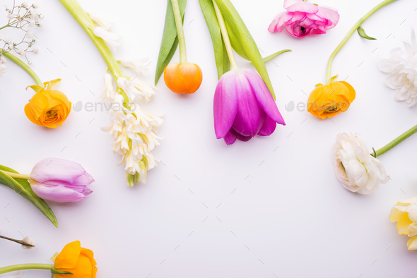 Easter and spring flat lay. - Stock Photo - Images