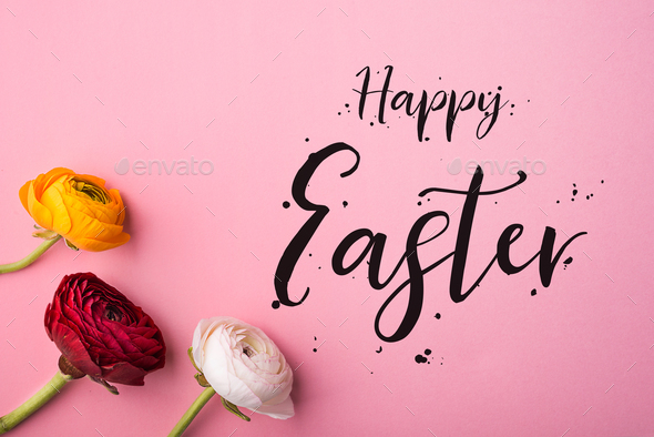 Happy Easter phrase and spring flat lay on a pink bacground. - Stock Photo - Images