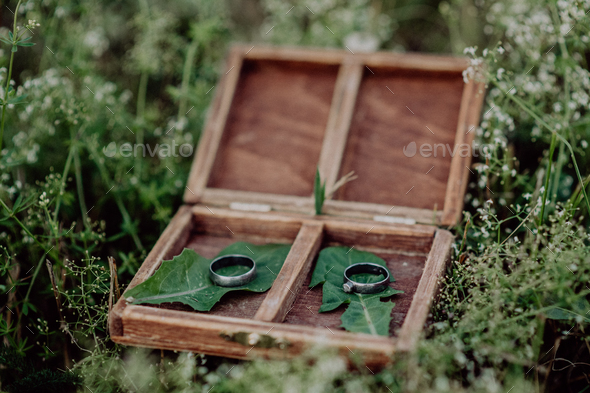 Wedding rings in a wooden box on grass. - Stock Photo - Images