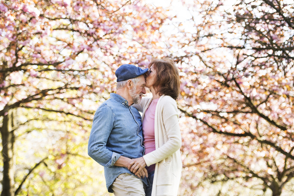 Beautiful senior couple in love outside in spring nature. - Stock Photo - Images