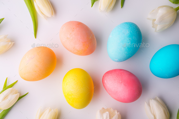 Flowers and colorful eggs on a white background. - Stock Photo - Images