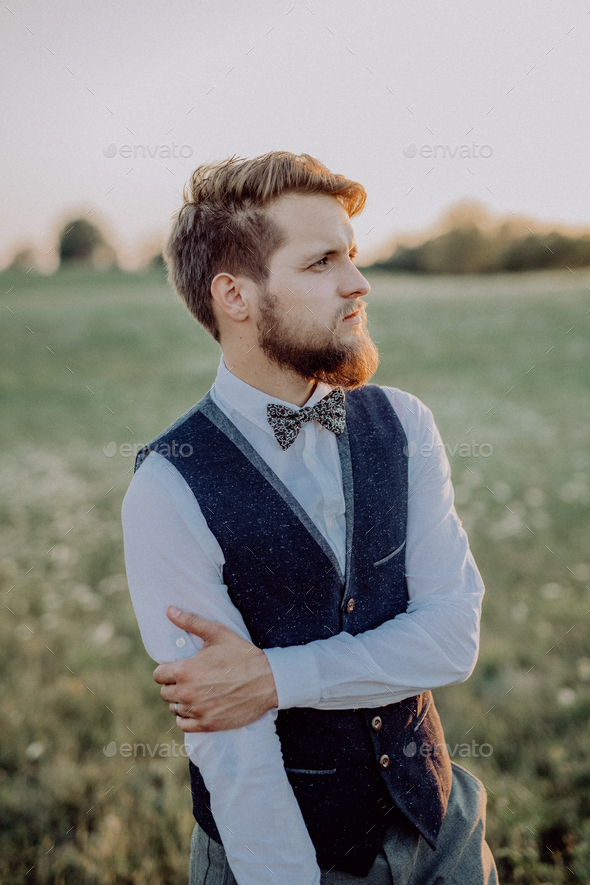 Handsome young groom. - Stock Photo - Images