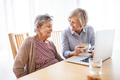Senior woman with her mother with laptop at home. - PhotoDune Item for Sale