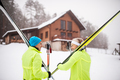 Senior couple getting ready for cross-country skiing. - PhotoDune Item for Sale