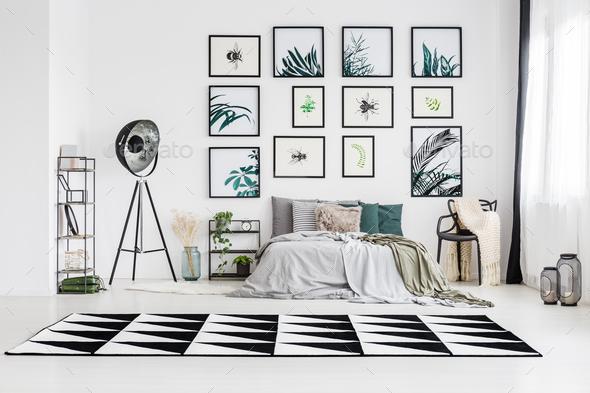 Spacious monochromatic bedroom - Stock Photo - Images