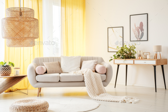 Oversize lamp in light room - Stock Photo - Images