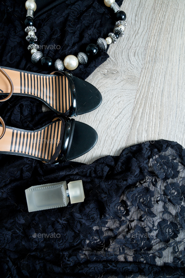 Women Outfit Black Lace Dress Shoe Sandals Necklace And Perfume