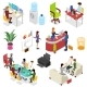 Isometric 3D Set Corporate Office Life