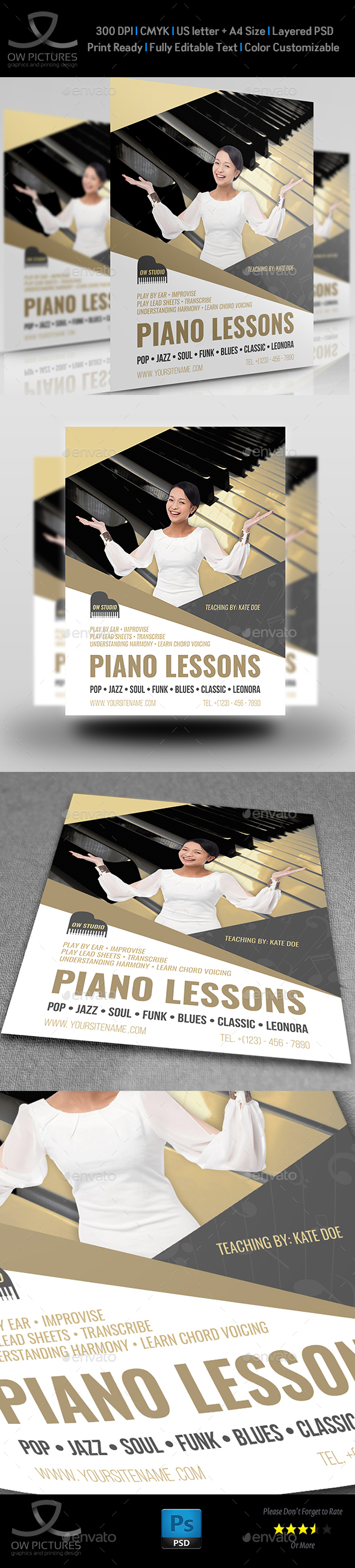 Piano Lessons Flyer Template - Commerce Flyers