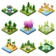Public Park Landscapes Isometric 3D Set