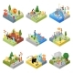 Public Zoo Landscapes Isometric 3D Set - GraphicRiver Item for Sale