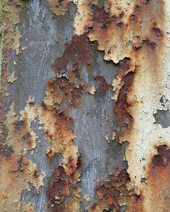 Cracked and peeled paint on the iron surface - Stock Photo - Images