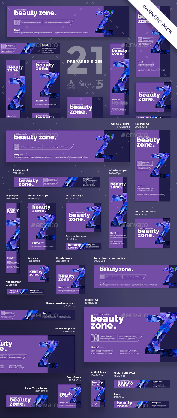 Beauty Zone Banner Pack - Banners & Ads Web Elements