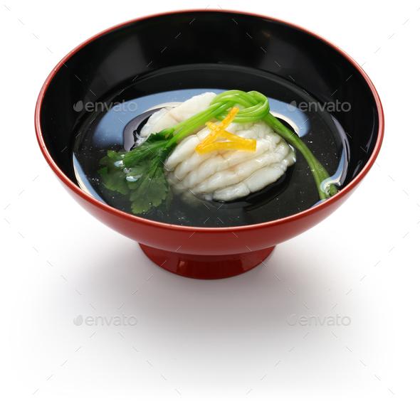 greenling soup, ainame-wan, japanese kaiseki cuisine - Stock Photo - Images