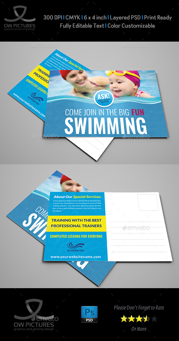 Swimming Postcard Template - Cards & Invites Print Templates