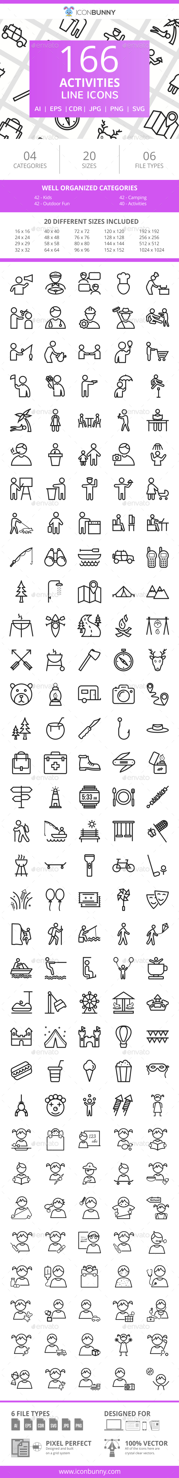 166 Activities Line Icons - Icons