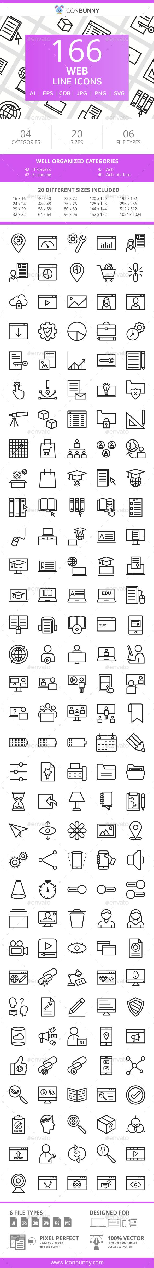 166 Web Line Icons - Icons