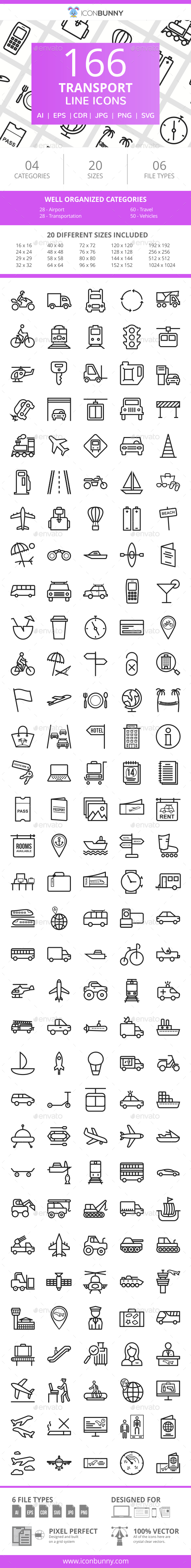 166 Transport Line Icons - Icons