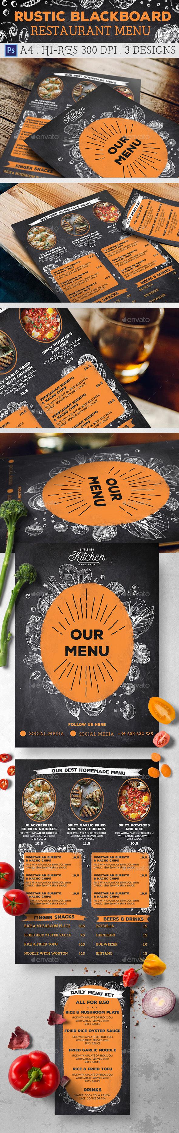 Rustic Blackboard Restaurant Menu - Food Menus Print Templates