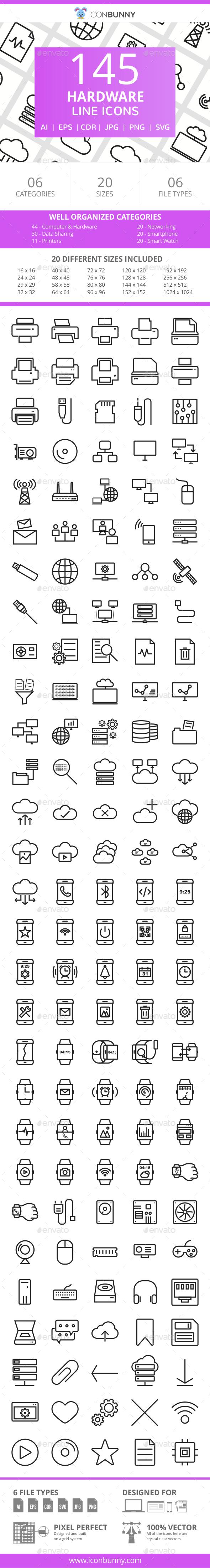 166 Hardware Line Icons - Icons
