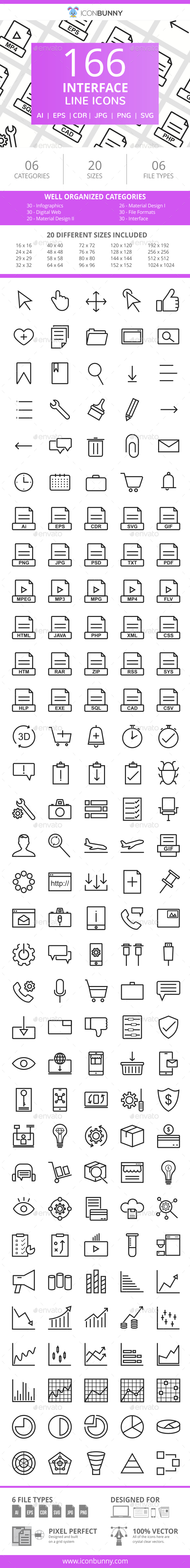 166 Interface Line Icons - Icons