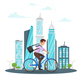 Businessman Riding on the Bike