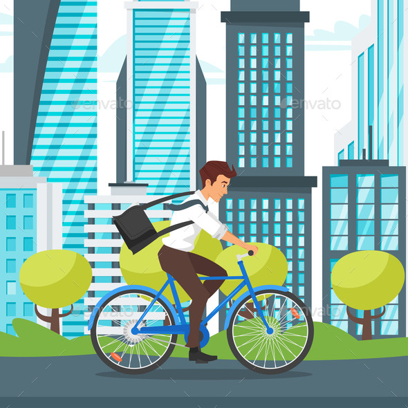 Businessman Riding Bike - People Characters