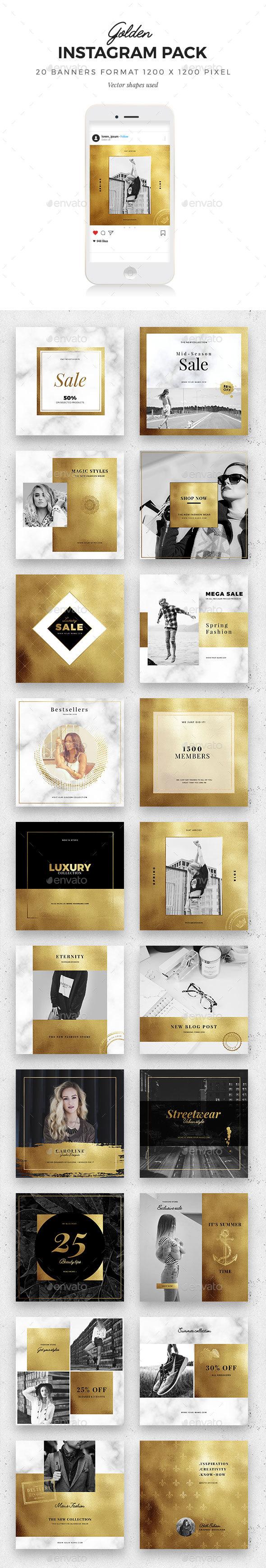 Golden Instagram Pack - Social Media Web Elements