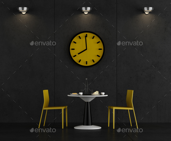 Black and yellow coffee room - Stock Photo - Images