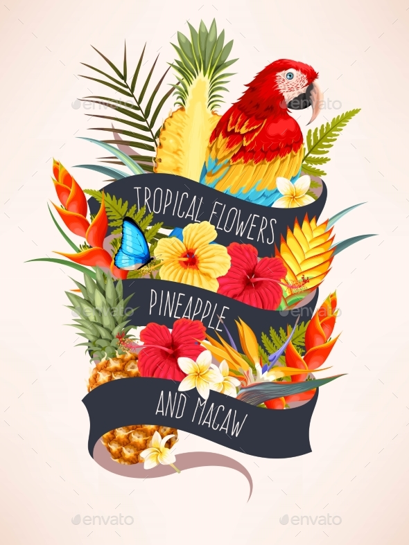 Vector Card with Macaw and Flowers - Flowers & Plants Nature
