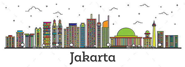 Outline Jakarta Indonesia City Skyline with Color Buildings - Buildings Objects