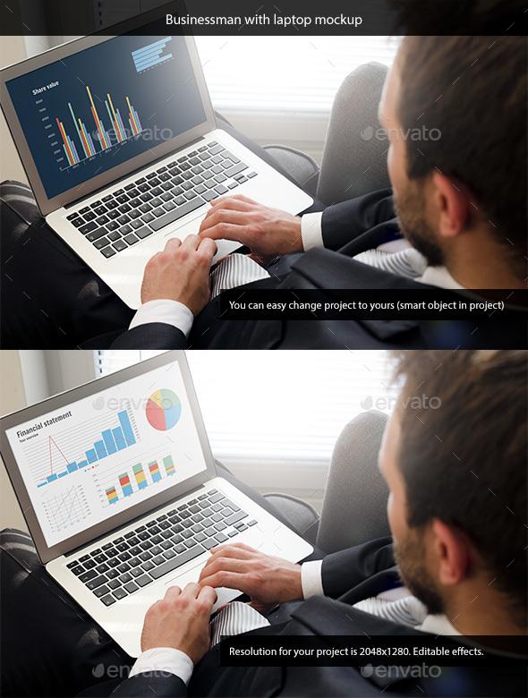 Businessman with Laptop Mockup - Laptop Displays