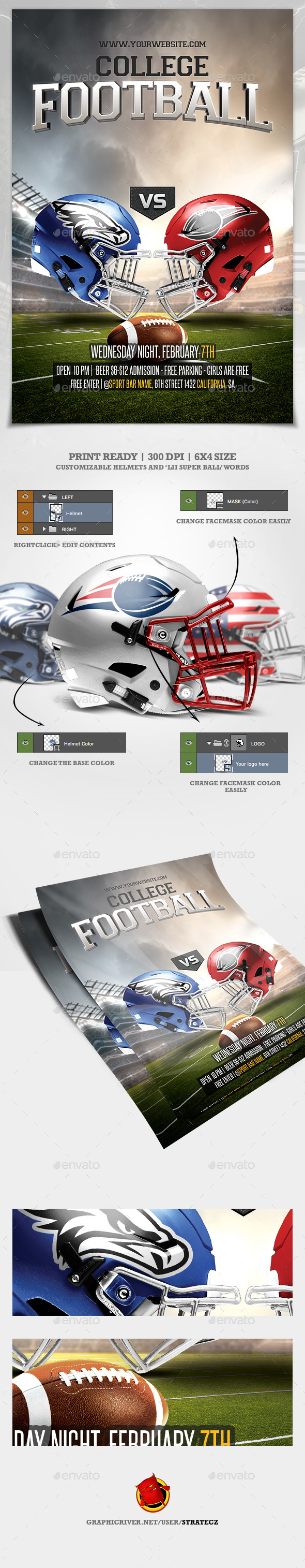 College Football Flyer / Sunday College Football Flyer - Print Templates