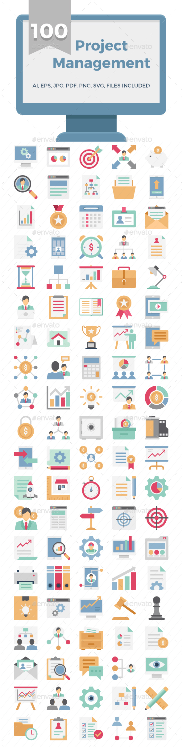Project Management Color Vector Icons Pack - Icons