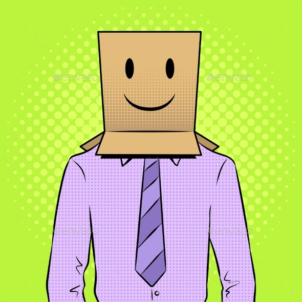 Man with Box Happy Emoji on Head Pop Art Vector - Miscellaneous Vectors