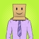 Man with Box Happy Emoji on Head Pop Art Vector - GraphicRiver Item for Sale
