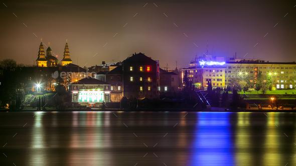 Panorama night city lights - Stock Photo - Images