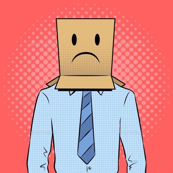 Man with Box Sad Emoji on Head Pop Art Vector - Miscellaneous Vectors