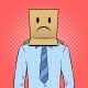 Man with Box Sad Emoji on Head Pop Art Vector - GraphicRiver Item for Sale
