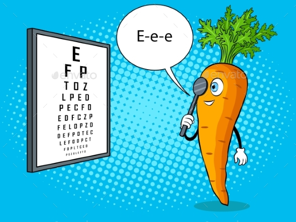 Carrot Check Vision Pop Art Vector Illustration - Food Objects