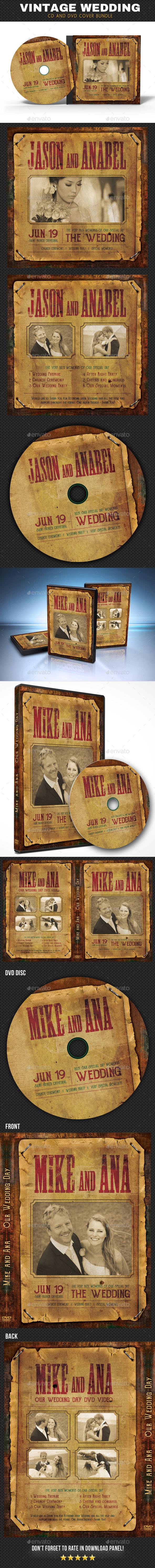 Vintage Wedding CD - DVD Cover Bundle - CD & DVD Artwork Print Templates